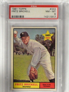 1961 Topps Fritz Brickwell #333 PSA 8 NM-MT *39387