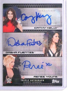 2017 Topps WWE Cathy Kelly DashaFuentes Renee Young autograph #D02/10 *67634