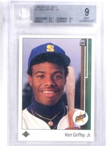1989 Upper Deck Ken Griffey Jr. rc rookie #1 BGS 9 MINT (2) 9.5 SUBS *68014