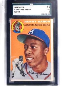 1954 Topps Hank Aaron rc rookie #128 SGC 40 = 3 VG *68812