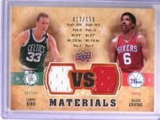 2009-10 Upper Deck VS Materials Larry Bird Julius Erving jersey #D17/150 *68911