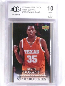 2007-08 Upper Deck First Edition Kevin Durant rc rookie #202 BCCG 10 *68825