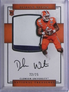 2017 National Treasures College Deshaun Watson autograph patch rc #D22/25 *68839