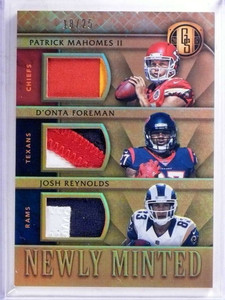 2017 Gold Standard Pat Mahomes Foreman Reynolds triple patch #D18/25 *68903