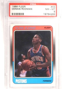 1988-89 Fleer Dennis Rodman rc rookie #43 PSA 8 NM-MT *69210