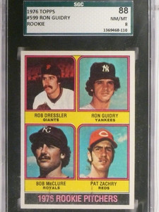 1976 Topps Ron Guidry rc rookie #599 SGC 88 Nm-MT *48655