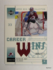2002-03 UD Mask Collection Patrick Roy Career Wins Jersey #D009/227 *43899