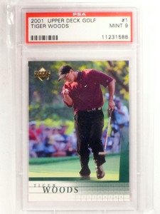 2001 Upper Deck Golf Tiger Woods Rookie RC #1 PSA 9 MINT *66720