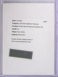 2015 National Treasures Hats Off Button Top Kevin White autograph rc #d 1/1 *563