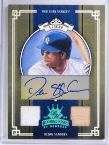 2005 Donruss Diamond Kings Deion Sanders autograph bat jersey #D 1/1 *57802