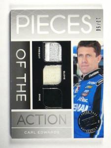 2012 Press Pass Pieces Of Action Carl Edwards Firesuit Glove shoe #D13/50 *35152