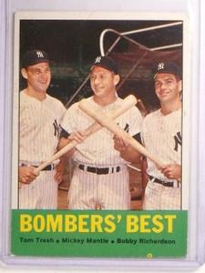 1963 Topps Bomber's Best Tresh Richardson Mickey Mantle #173 VG-ex *66860