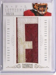 "2013 National Treasures NFL Letterman Robert Griffin III ""F"" Patch #D05/10 *5516"