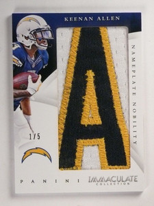 2015 Panini Immaculate Collection Nobility letter patch Keenan Allen #D1/5 *5188