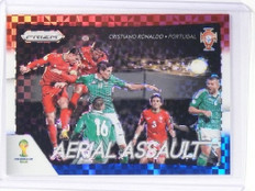 2014 Panini Prizm Cristiano Ronaldo Aerial Assault Blue and Red Prizms #1 *49617