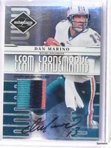2008 Leaf Limited Team Trademarks Dan Marino auto 3clr patch #D19/25 *42564