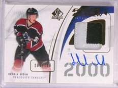 2009-10 Sp Authentic Rookie Review Henrik Sedin autograph patch #D8/100 *67537