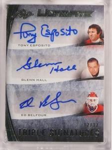 2015-16 Leaf Ultimate Tony Esposito Glenn Hall Belfour autograph #D12/12 *53294