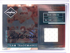 2007 Leaf Limited Team Trademarks Bob Griese auto autograph jersey #D08/25 *3943