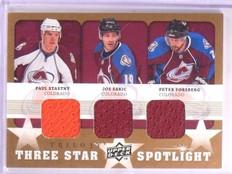 2008-09 UD Trilogy Sakic Stastny Forsberg Star Spotlight Jersey #3SSFS *55641