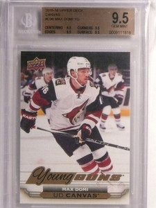 2015-16 Upper Deck Canvas Young Guns Max Domi rc rookie BGS 9.5 GEM MINT *55082