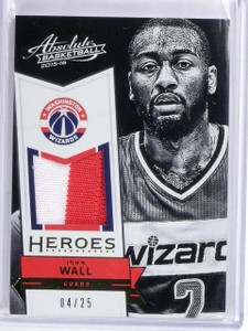 2015-16 Panini Absolute Heroes John Wall Prime Jersey Patch #D04/25 #15 *56680