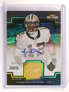 2011 Topps Triple Threads Marques Colston autograph auto jersey #D55/75 *46583