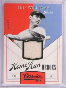 2014 Panini Classics Home Run Heroes Ted Williams jersey #D42/99 *67452