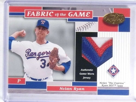 2002 Leaf Certified Fabric OF THE Game Nolan Ryan 3 color patch #D07/10 *68105