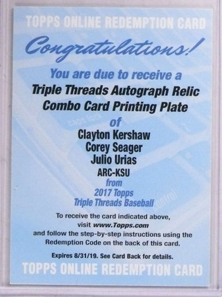 2017 Triple Threads Kershaw Seager Urias White Whale autograph 1/1 *69215