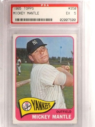 SOLD 15707 1965 Topps Mickey Mantle #350 PSA 5 EX *69202