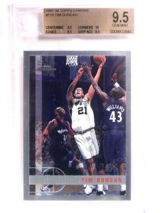 1997-98 Topps Chrome Tim Duncan rc rookie #115 BGS 9.5 GEM MINT *69199