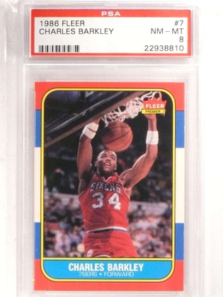 1986-87 Fleer Charles Barkley rc rookie #7 PSA 8 NM-MT *69204