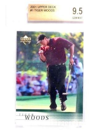 2001 Upper Deck Tiger Woods rc rookie #1 BGS 9.5 GEM MINT  *63848
