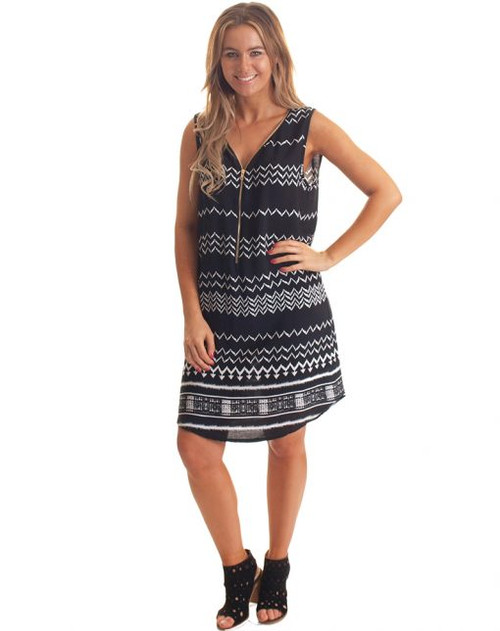 Freez Zipped Up Dress Black White Print