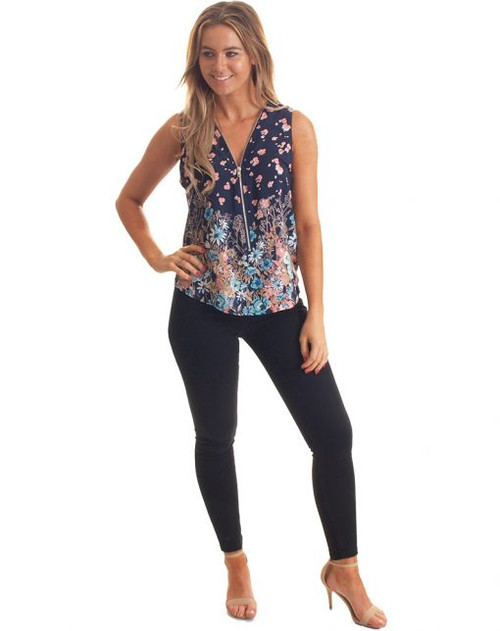 Freez Zipped Top Navy Floral Print