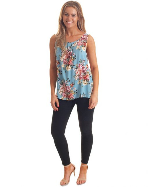 Freez Crinkle Top Blue Floral