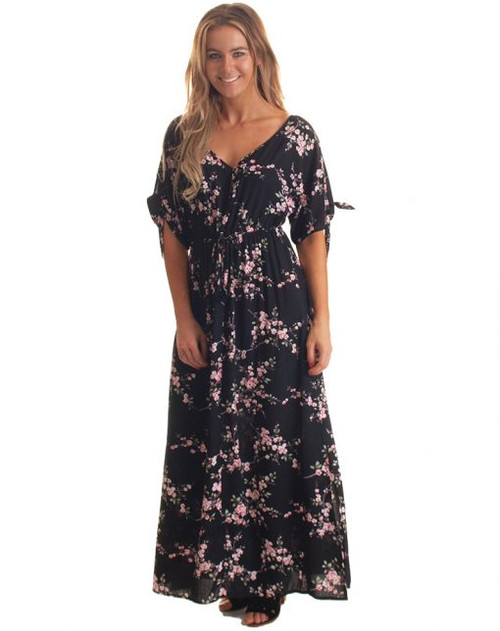 Freez Tie Sleeve Maxi Dress