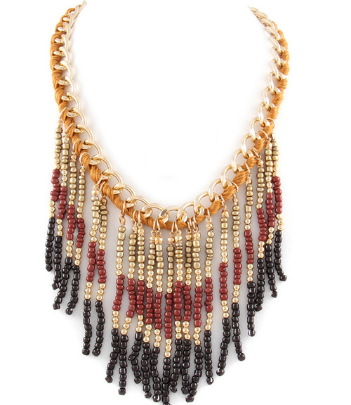 Brown Fringe Necklace