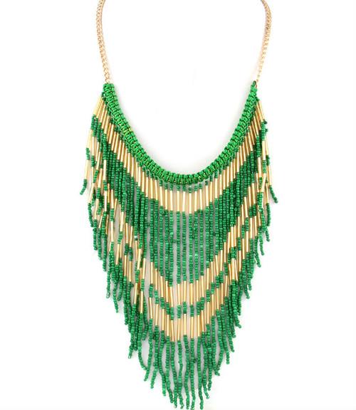Green Fringe Necklace