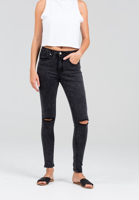 Rumour Has It Rapture Jeans Busted Knee Grey