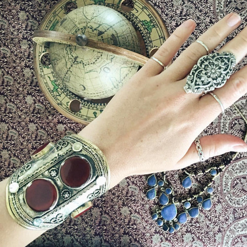 Lost Lover Agate Double Stone Tribal Cuff