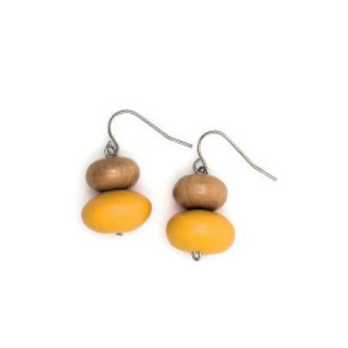 Rare Rabbit Mentos & Wood Drop Earring Mustard