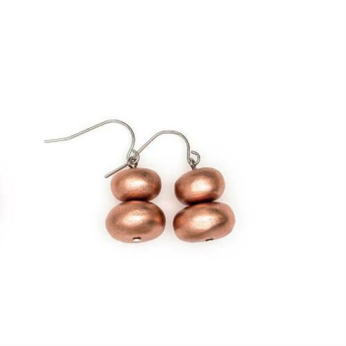 Rare Rabbit Mentos & Wood Drop Earring Bronze