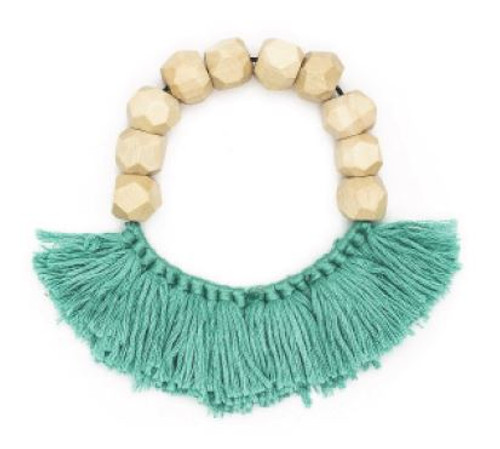 Rare Rabbit Faceted Beads with Tassels Bracelet Mint