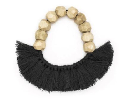 Rare Rabbit Faceted Beads with Tassels Bracelet Charcoal
