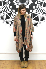 Frankie & Dandelion Midi Kimono Brown Floral