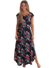 Freez Cap Maxi Dress Navy Floral