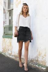 Lost in Lunar California Denim Skirt Black
