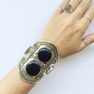 Lost Lover Black Double Stone Tribal Cuff